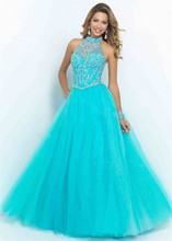 Fashion Elegant Halter Neck Beading Light Blue Tulle Prom Floor Length Party Long Evening gown 2018 mother of the bride dresses