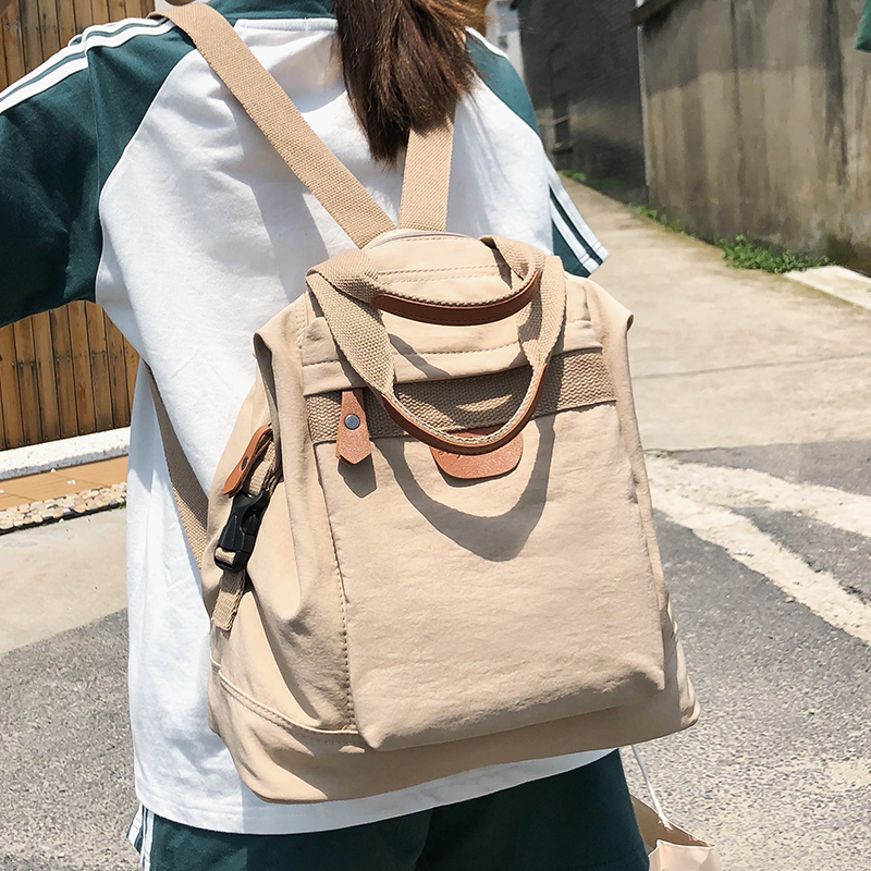 Cute Student Waterproof Backpack Female Women Vintage School Bag Girl Ladies Nylon Backpack Long Handle Book Bag Fashion Teenage
