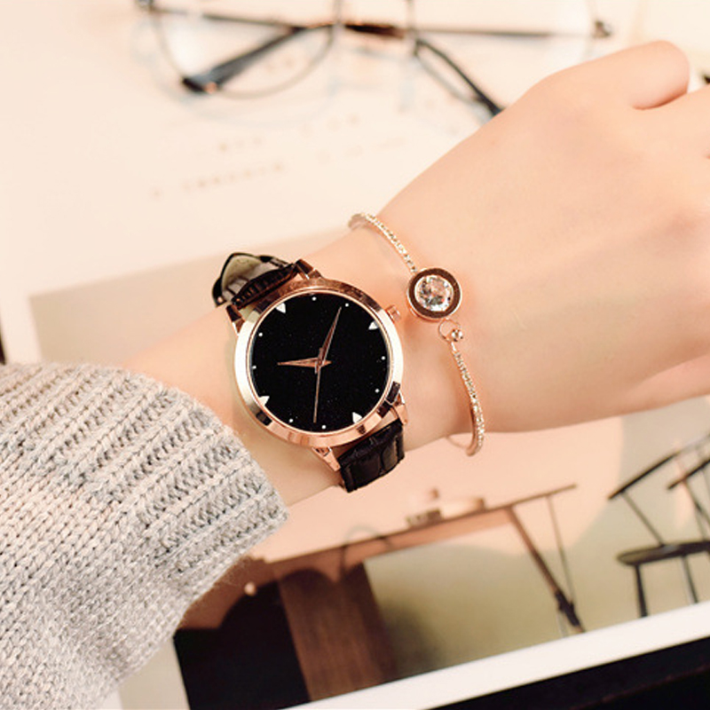 Fashion Star Dial Women Watches Luxury Golden Leather Ladies Watch Women Dress Clock relogio feminino