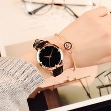 Звезда моды циферблат Для женщин Часы роскошные золотистые кожаные женские часы Женское платье часы Relogio feminino