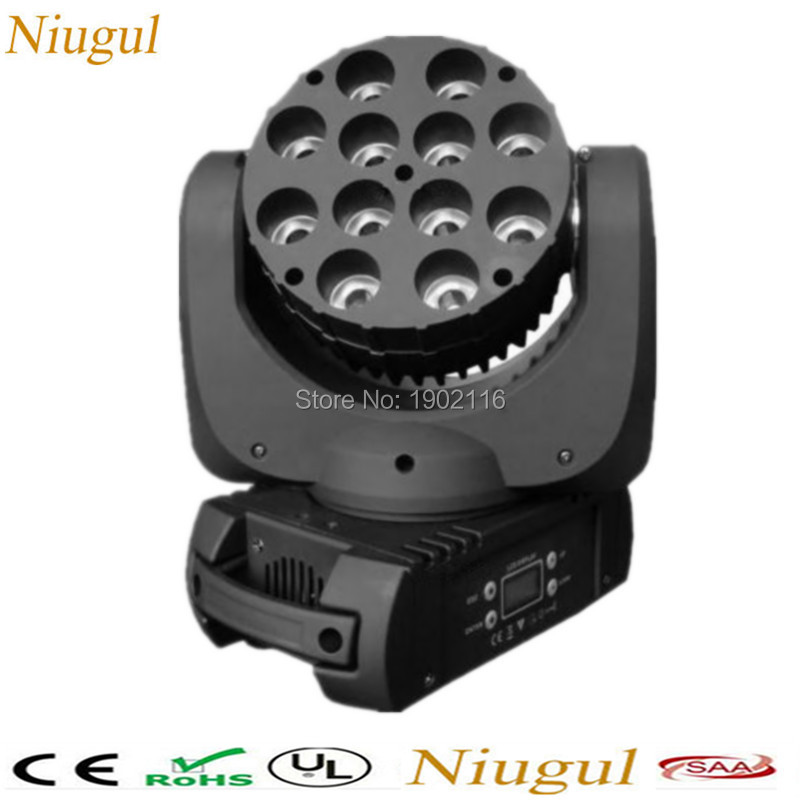 Niugul DJ lighting LED Beam Moving Head Light 12x12W RGBW Quad DMX stage effect light wedding party lights 0-100% linear dimming