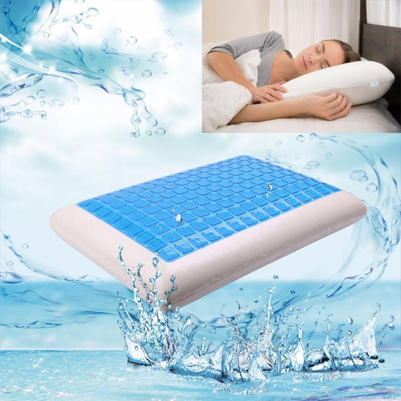 Memory Pillow Foam White Bed Gel Pillow Blue Cooling Orthopedic Cushion for Sleeping Travel Neck Fatigue Relief Outdoor Cushion-in Bedding Pillows from Home & Garden