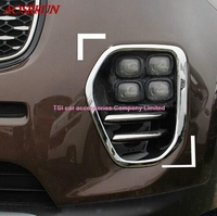 2pcs ABS Chrome Car Front fog lights cover For Kia Sportage 2016 2017 car accessories car styling 3D sticker Car Interior