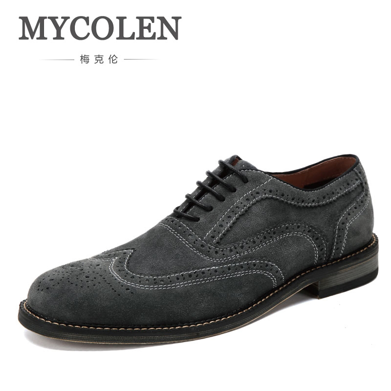 MYCOLEN Genuine Leather New Fashion Lace Up Men Gray Brogue Oxford Casual Business Footwear Man Dress Shoes With Men'S Shoes цена 2017