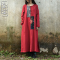 2016 Spring Autumn folk style patchwork dress plus size frog loose cotton linen long robe 2 colors