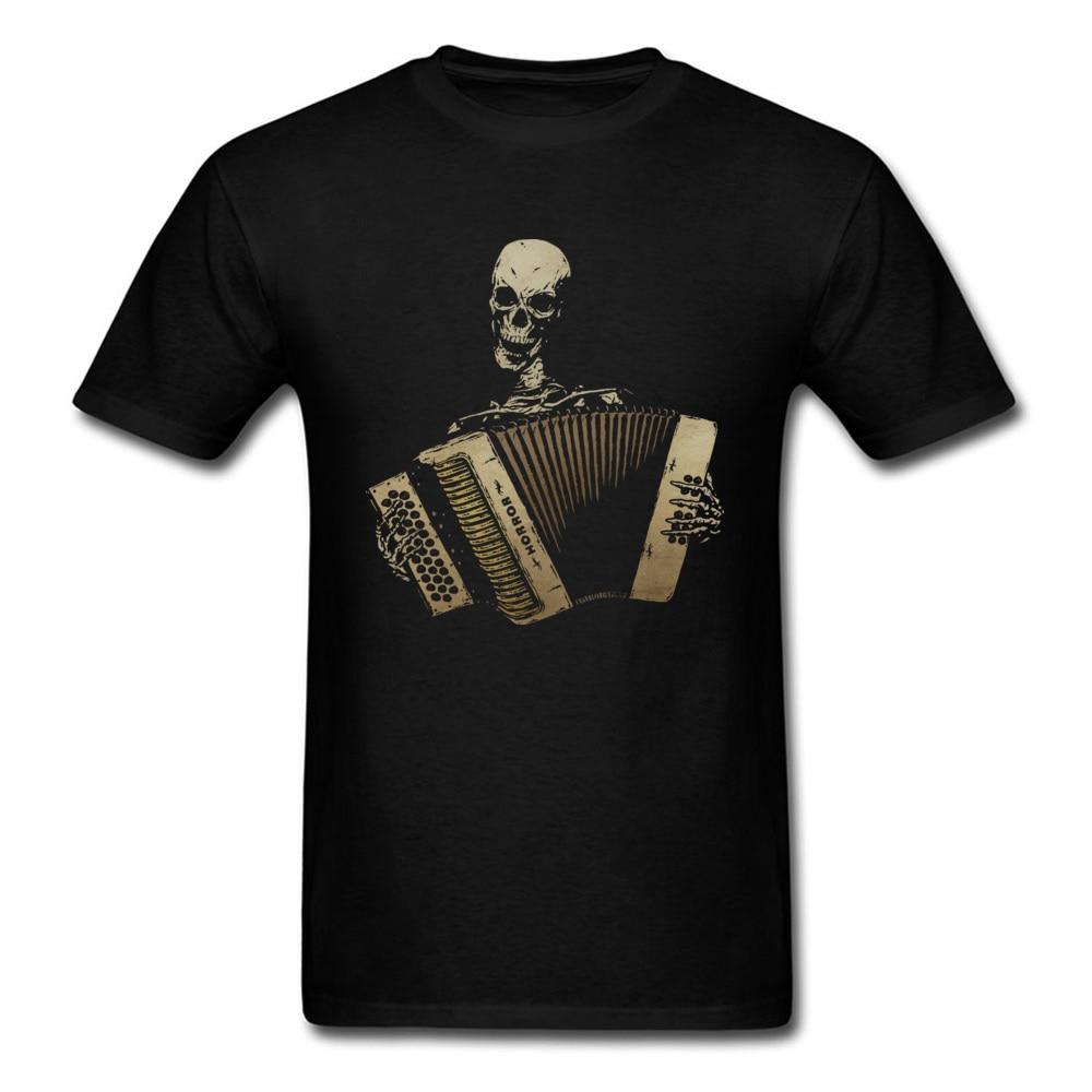 Custom T Shirts Skull Piano Accordion Tshirt Men Blues Lover T-shirt Vintage Black 100% Cotton Mens Tops Tees Slim Fit Clothes Футболка
