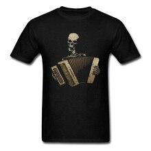 Camisetas personalizadas, camiseta con diseño de Calavera, Piano, acordeón para hombre, camiseta de amante del Blues, camiseta negra Vintage 100% de algodón para hombre, camisetas ajustadas