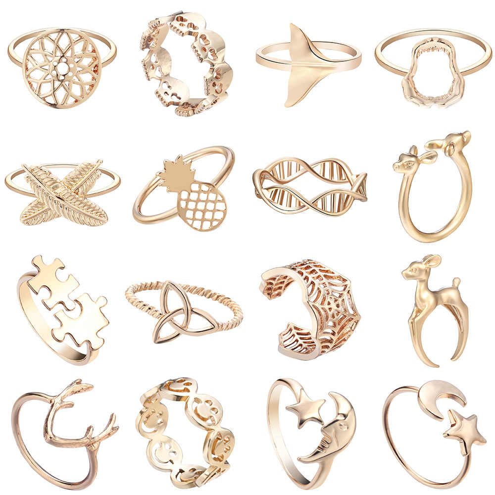 Cxwind Fashion Web Knot Smile Face Tail Deer Rings Skeleton Skull Mickey Animal Girl Male Knuckle Ring Anel Femme Jewelry