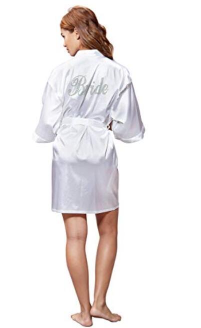 Fashion Silk Bridesmaid Bride Robe Sexy Women Short Satin Wedding Kimono Robes Sleepwear Nightgown Dress Woman Bathrobe Pajamas