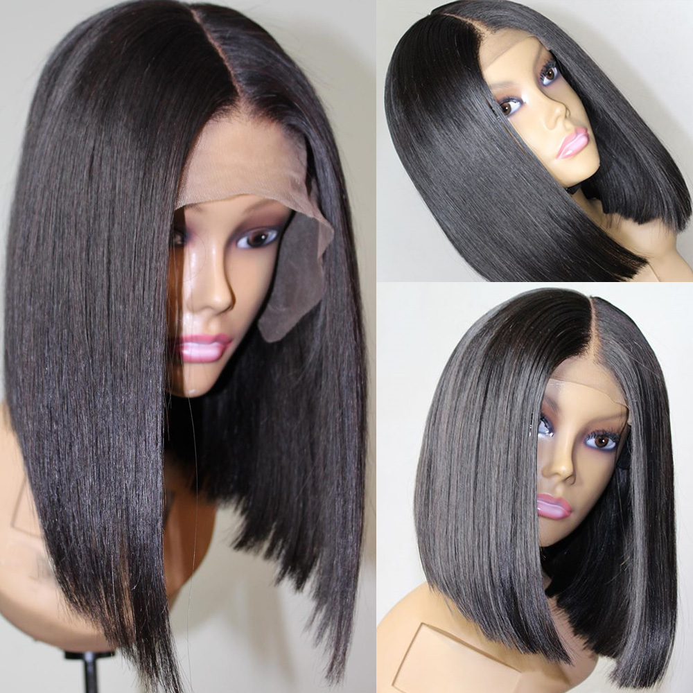 Brazilian Hair Remy Straight 13x6 Lace Front Wigs For Black Women Sgort Bob Blunt Cut Pre Plucked Real Human Hair Toppers