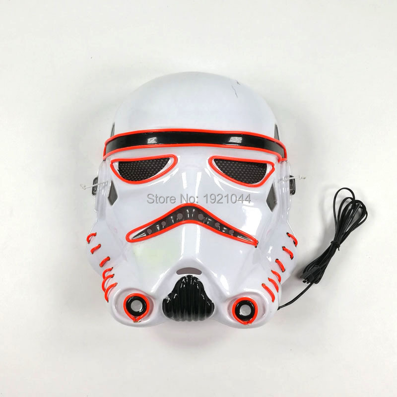 EL Wire Full Face Mask Rave Custom Mask Lighting Color Red Cold Light Mask for Halloween Party Supplies 3V Voice Controller