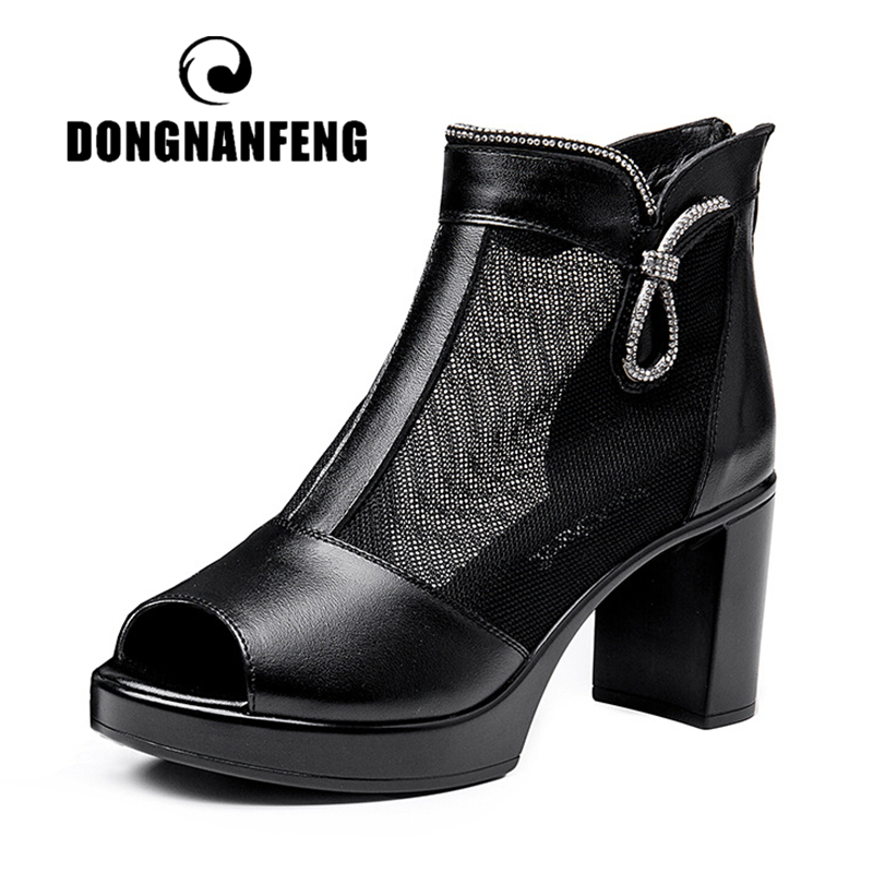 Honest Dongnanfeng Women Mother Ladies Female Genuine Leather Mesh Shoes Sandals High Heel Ankle Zipper Summer Bling Size 35-40 Mld-801 Shoes Heels