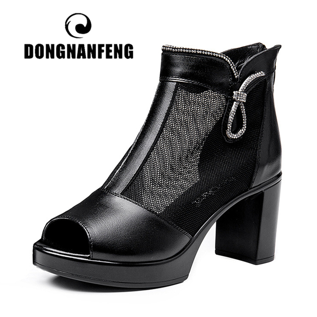 DONGNANFENG Women Mother Ladies Female Genuine Leather Mesh Shoes Sandals High Heel Ankle Zipper Summer Bling Size 35-40 MLD-801