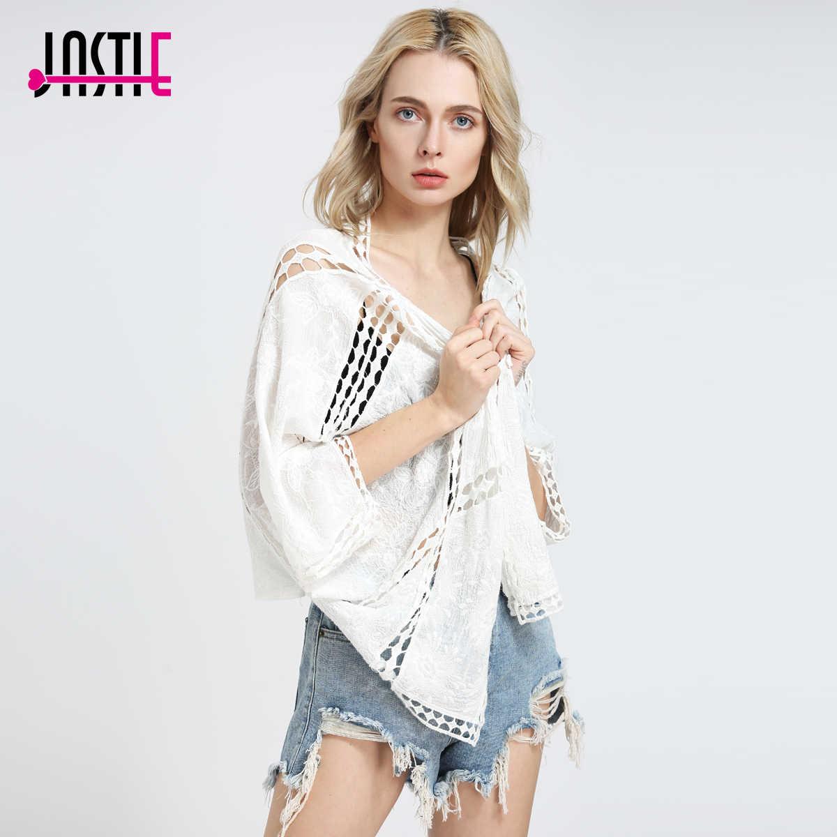 Jastie Boho Хиппи кимоно вышивка вязаный крючком Для женщин верхняя одежда Топ рукава «летучая мышь» Cover Up кардиган Повседневное пляж куртка Z-90