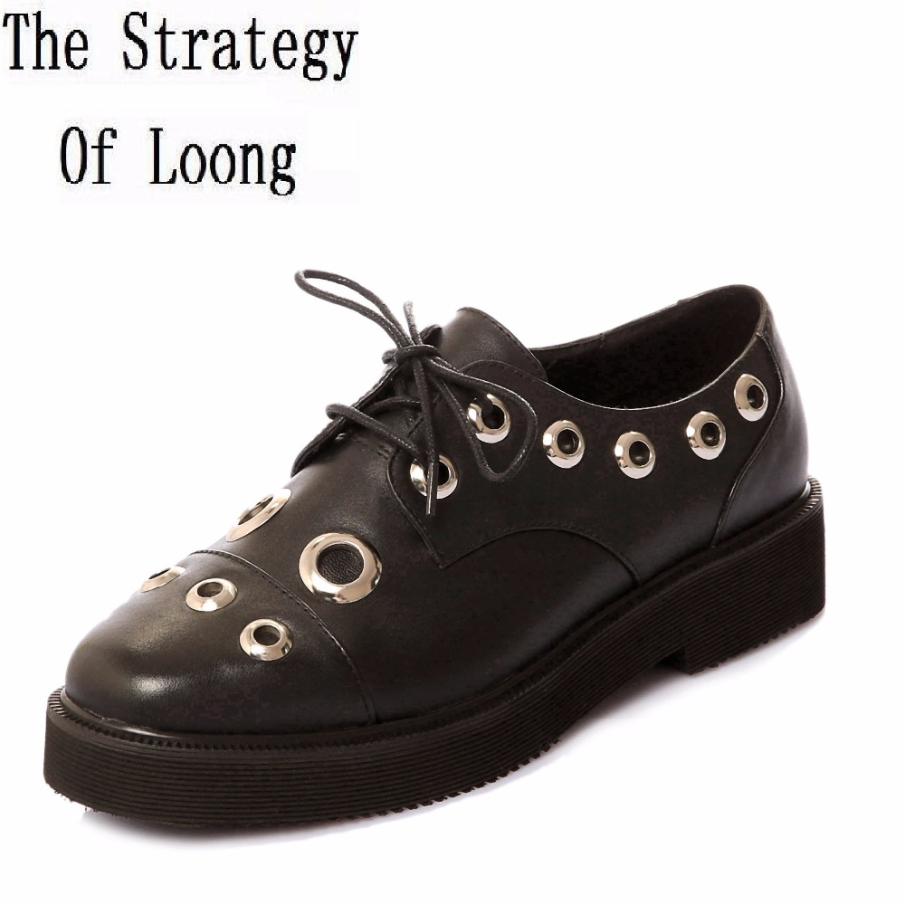 Women Spring Autumn Casual Flat Full Grain Leather Lace Up Shoes Genuine Leather Breathable Big Size 42 Lady Shoes 161116 high quality 4cm platforms full grain genuine leather flat casual shoes women 2016 white hollow out lace up fashion autumn flats