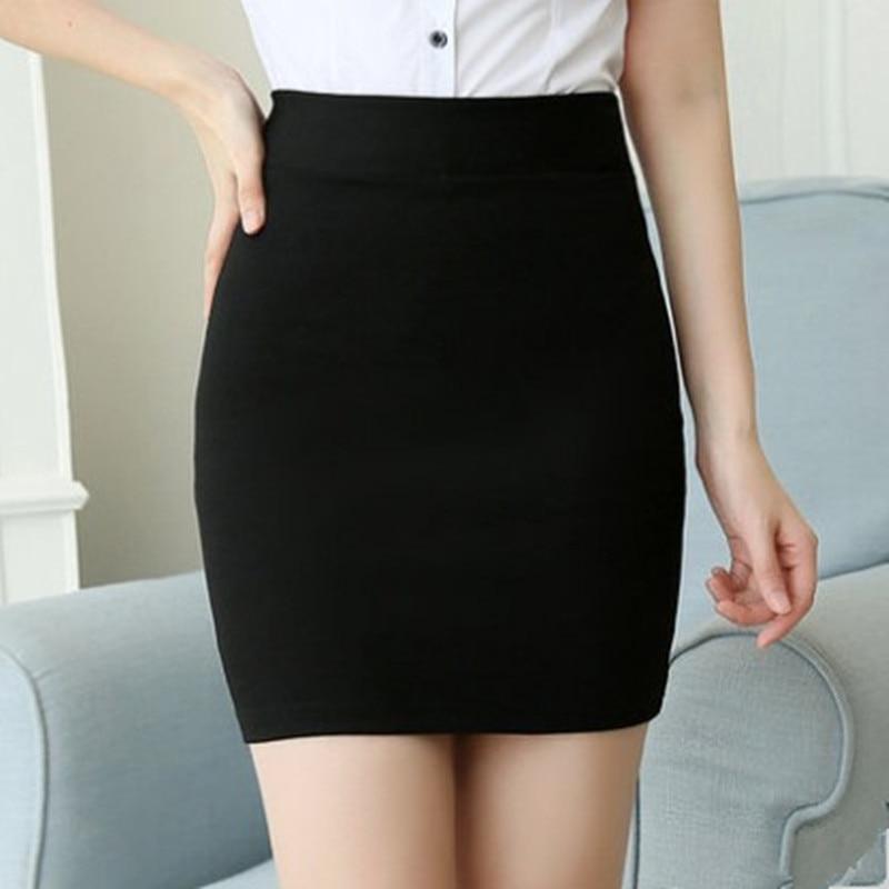 2018 High Quality  Black Basic Skirts Spring Office High Waist   Pencil Skirts Women Elastic Slim