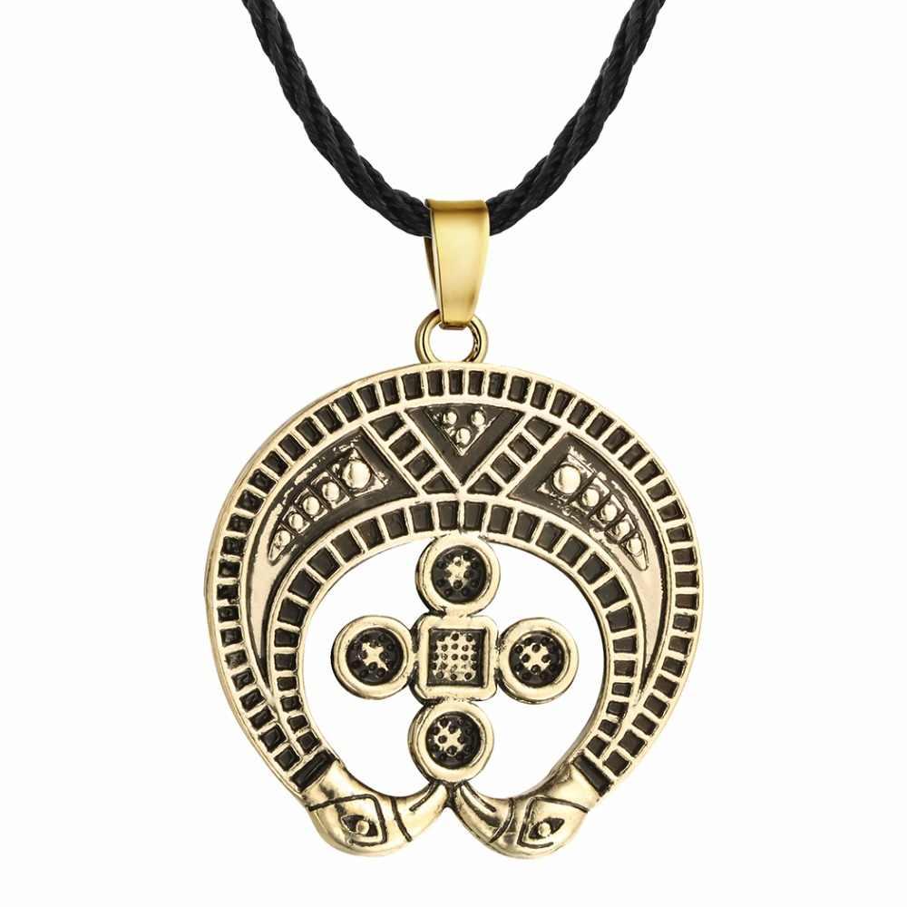 QIMING Nordic Viking mężczyźni naszyjnik kobiety słowiański Symbol amulety Kolovrat antyczny srebrny krzyż młotek wisiorek mężczyzna naszyjnik biżuteria