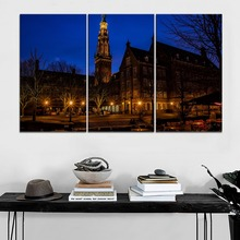 Framework Or Frameless Canvas Painting Home Decor 3 Piece Holland Night Building Street Picture Wall Artwork Modern Print
