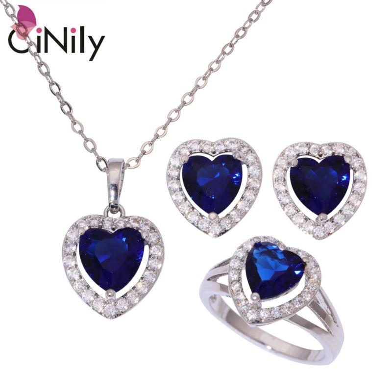 Cinily Blue White Zircon Garnet Silver Plated Women Jewelry Necklace Pendant