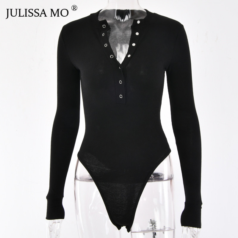 HTB1eTmAXZnrK1RjSspkq6yuvXXaF - JULISSA MO Sexy V Neck Knitted Bodysuit Women Black Long Sleeve Buttons Rompers Womens Jumpsuit Casual One-pieces Bodysuits