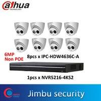 Dahua IP NVR system NVR5216 4KS2 16CH 4K&H.265 video recorder & IP camera 6MP h.265 IPC HDW4636C A Built in MIC IR50m IP67