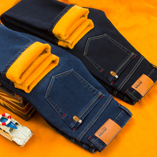 New Male Brand Jeans Winter Mens Warm Jeans Business Casual Straight Stretch Thick Slim Denim Pants Black Blue Plus Size 28 40