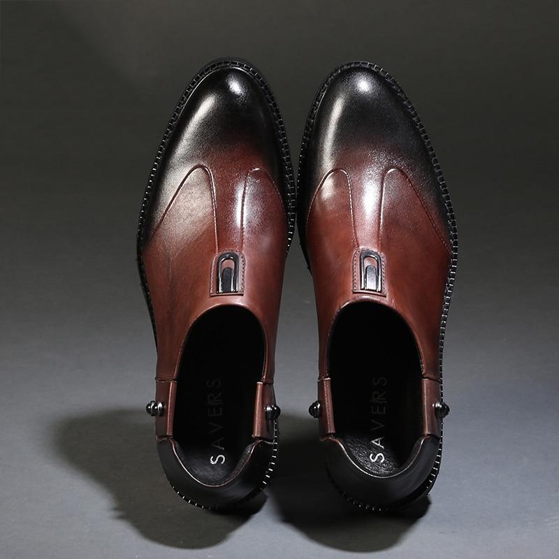 Marca Los Hombres Botas Moda Zapatos Mycoron Otoño brown Estilo La Chaussure Homme Europeo Superior Cuero De Retro Calidad Negro xwqIq0X