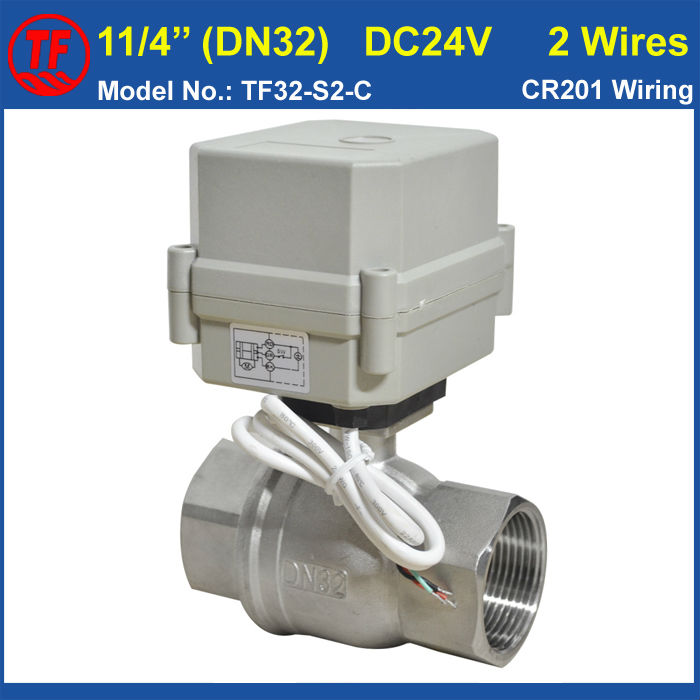 DC24V 2 Wires DN32 Electric Ball Valve 10Nm Actuator Metal Gear 2 Way SS304 BSP/NPT 1-1/4'' For Water Control Application ac110 230v 5 wires 2 way stainless steel dn32 normal close electric ball valve with signal feedback bsp npt 11 4 10nm