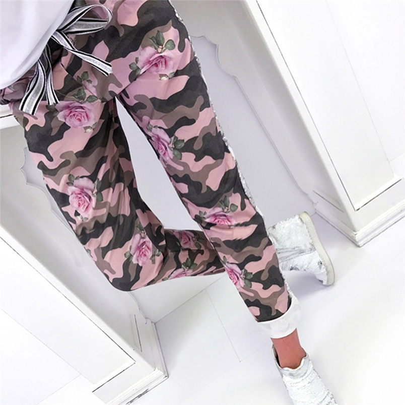 Fashion Womens Pants 2018 New Arrival Comfortable Sequins Camouflage Print Bandage Patchwork Mid Waist Long Pants Trousers F#J12 (9)