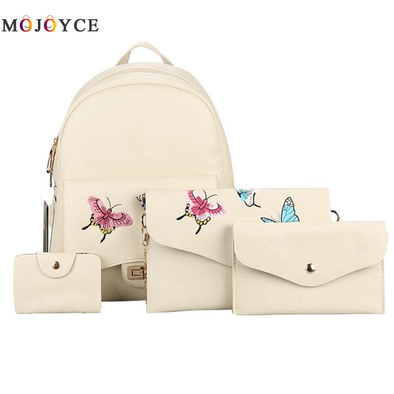 4pcs/ Set Beige Black Women Backpack Butterfly Embroidery Zipper Flap Teenage Girls Pu Leather Backpack Mochila Feminina