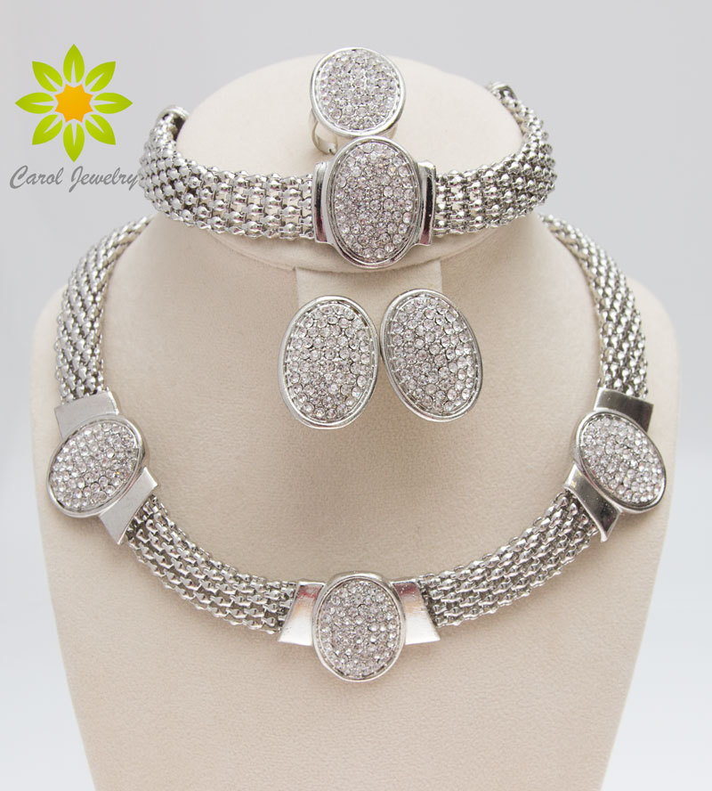 Free Shipping 2020 Oval Shape Silver Plated Clear Crystal Jewelry Set New Fashion Wedding Bridal African Costume Jewelry Sets