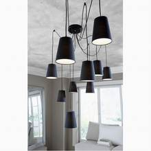 Modern big hanging led chandelier dining room/Diy Clusters of white/black fabric shades chandeliers 220v bedroom ceiling lamps