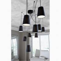 Moderno grande hanging led lampadario sala da pranzo/Fai Da Te Grappoli di bianco/nero tonalità del tessuto lampadari 220 v camera da letto lampade a soffitto