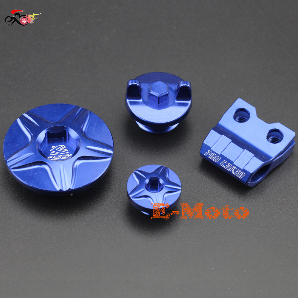 CNC Billet Front Brake Hose Clamp Holder Engine Timing Oil Filter Plugs Cover Kit For YZ250F YZ450F YZ250FX WR250F BLUE E Moto