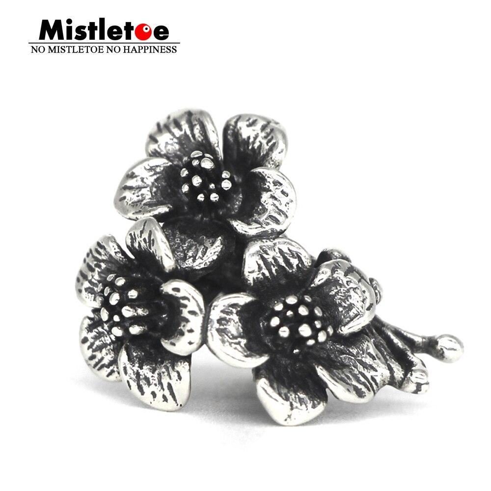 Mistletoe Genuine 925 Sterling Silver 3 Flowers Charm Bead Fit European Bracelet Jewelry