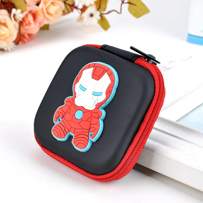 Anime Iron-man Headset Holder Rectangle Cartoon Silicone Coin Purse Super Hero Organizer Wallets Gift Kids Boy Girl Coin Bags