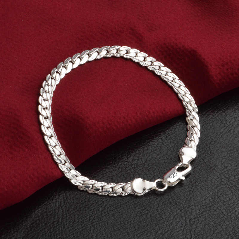 LEKANI Statement Two Colors 925 Sterling Silver Flat Snake Chain Bracelet For Women Girl Newest Fine Jewelry S-B33