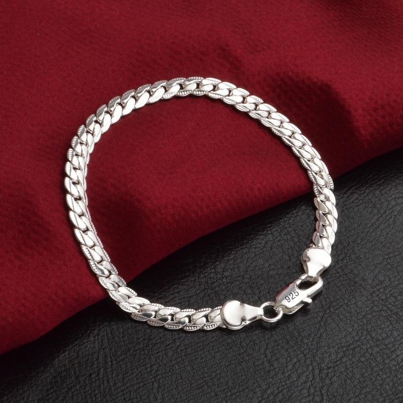 LEKANI Statement Two Colors 925 Sterling Silver Flat Snake Chain Bracelet For Women Girl Newest Fine Jewelry S-B33