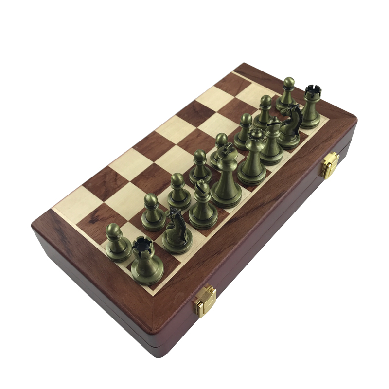 Easytoday International Chess Wooden Games Set Metal Chess Pieces Solid Wood Chess Board Entertainment Table Game Gift 5