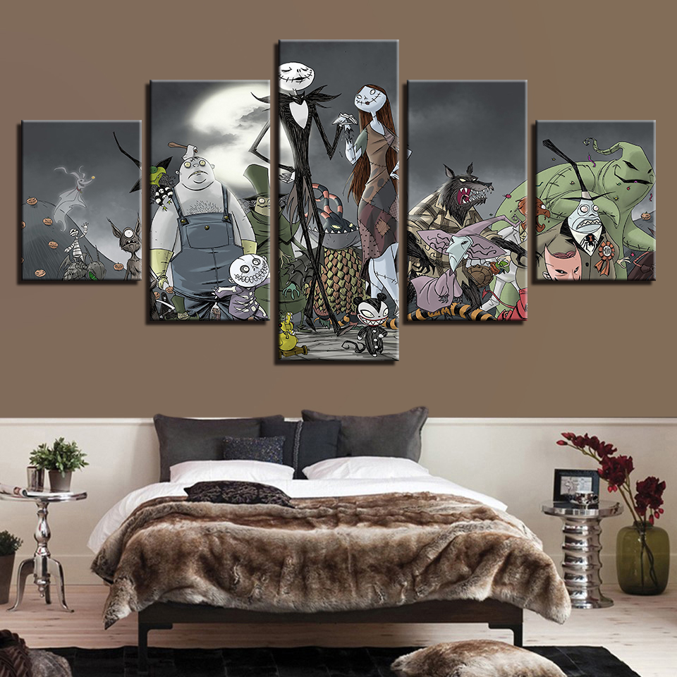 Modern Wall Art HD Printed Painting Pictures Home 5 Panel Halloween ...