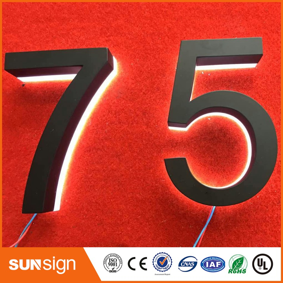 Wholesale Illuminated House Number Plate Halo Lit House Number Led