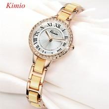 Vestido de la manera de Kimio reloj de las mujeres rhinestone crystal Simulado de cerámica banda de oro rosa pulsera de Cuarzo relojes montre femme