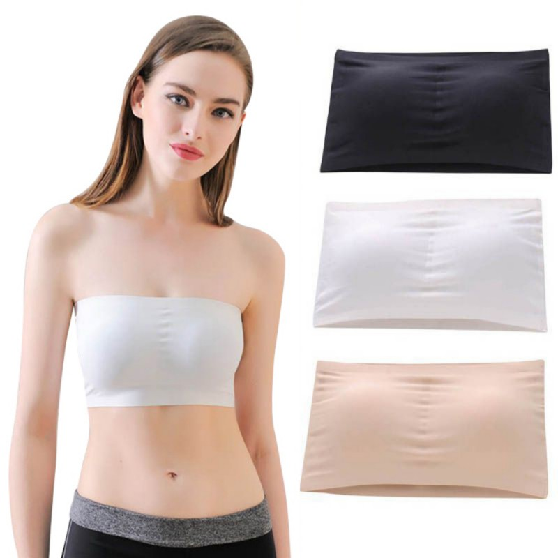 Women Sexy Seamless Solid Wrap Chest Stretch Tube Top Bras Wire Free Padded Bralette Bandeau Bras 2018 Newest