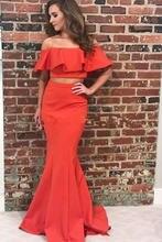 Скромное атласное платье Русалка для выпускного вечера из двух