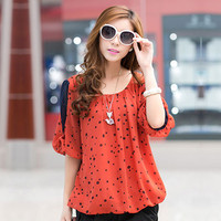 New Autumn Fashion Tops Polka Dot Print Chiffon Blouse Shirts Women Clothing Plus Size Casual Blouses