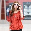 Полька Dot Печати Шифон Блузка Плюс Размер Повседневная Рубашки Женщины Clothing Весна Лето Мода Топы Blusas Camisas Femininas