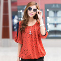 Polka Dot Impressão Chiffon Blusa Plus Size Camisas Casual Roupas Femininas Moda Primavera Verão Tops Blusas Camisas Femininas