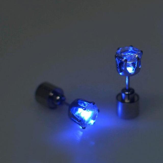 KISS WIFE 2018 Hot Sale 1PCS Charm LED Earring Light Up Crown Glowing Crystal Stainless Ear Drop Ear Stud Earring Jewelry 5