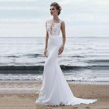 신부 드레스 2019 섹시한 간단한 특종 목 민소매 웨딩 드레스 새틴 벨트와 Tulle 레이스 로브 드 Mariee Trouwjurk