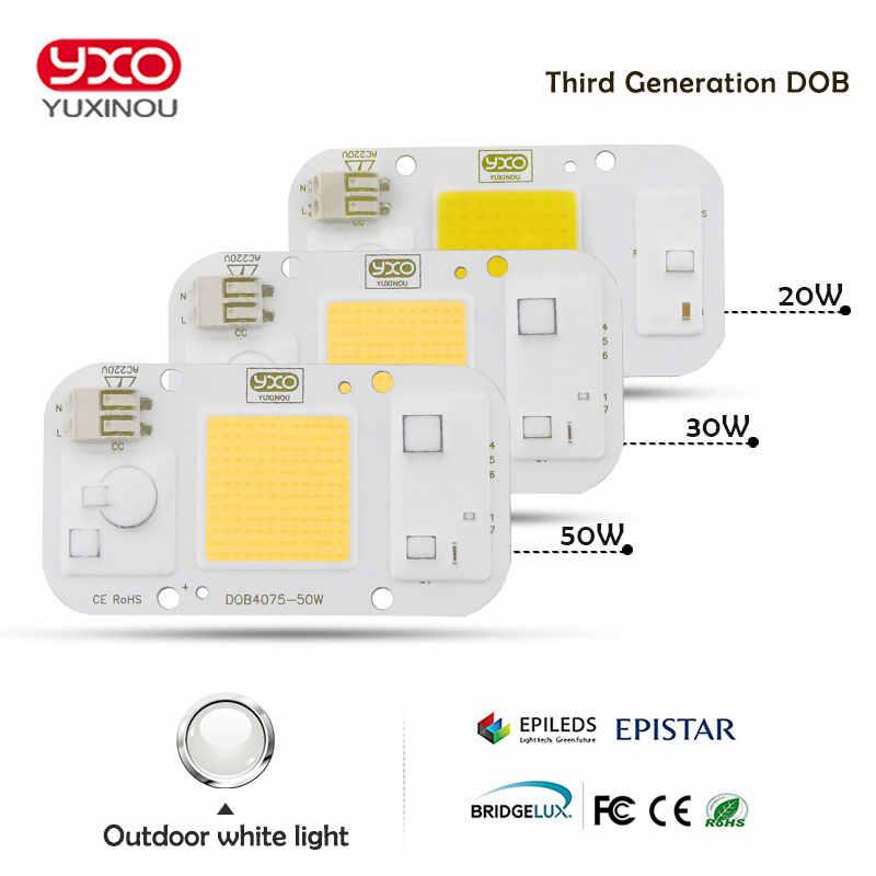 Yxo yuxinou светодиод dob COB Чип 50 Вт 40 Вт 30 Вт 20 Вт 10 Вт AC 220 В не нужен драйвер умная лампочка с ИС лампа для DIY светодиодный прожектор